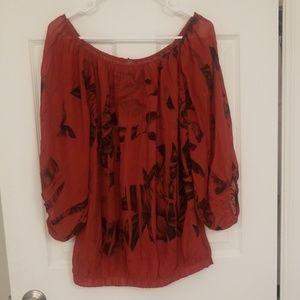 Chiffon black rose blouse